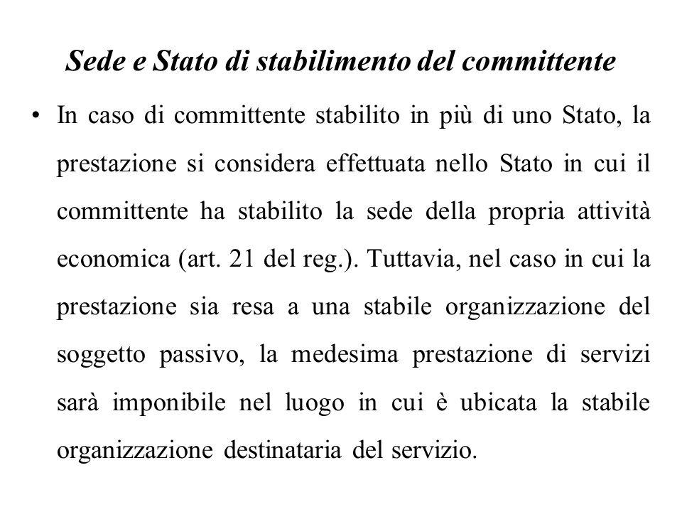 Sede e Stato di stabilimento del committente