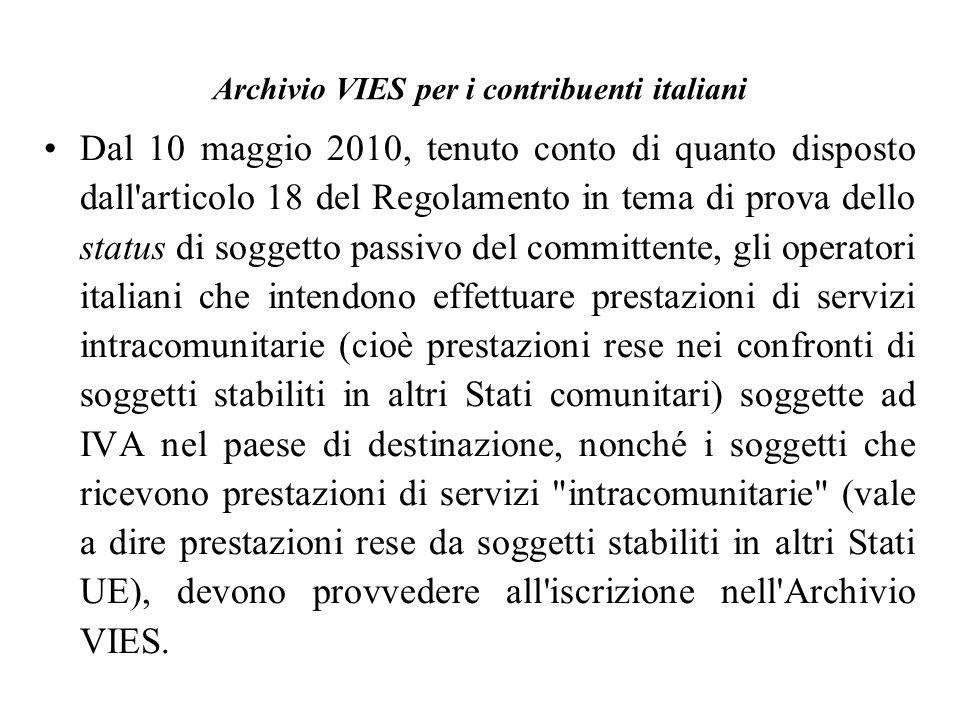 Archivio VIES per i contribuenti italiani