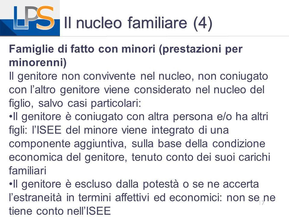 Il nucleo familiare (4) Famiglie di fatto con minori (prestazioni per minorenni)