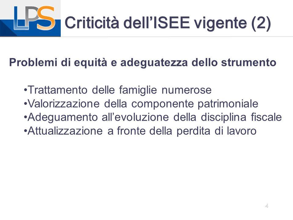 Criticità dell'ISEE vigente (2)