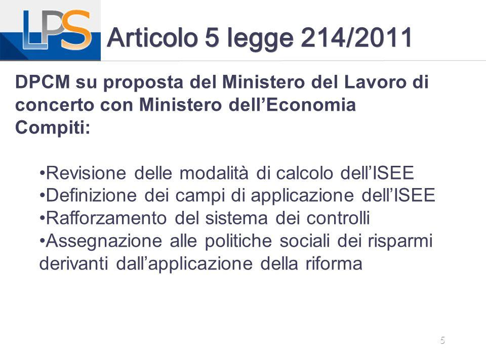 Articolo 5 legge 214/2011 DPCM su proposta del Ministero del Lavoro di concerto con Ministero dell'Economia.