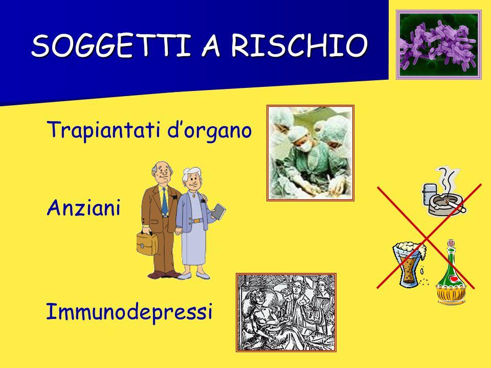 SOGGETTI A RISCHIO Trapiantati d'organo Anziani Immunodepressi