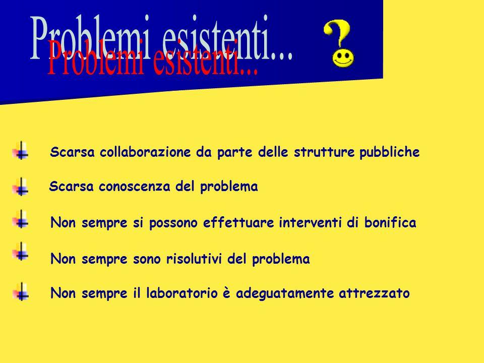 Problemi esistenti... Scarsa collaborazione da parte delle strutture pubbliche. Scarsa conoscenza del problema.