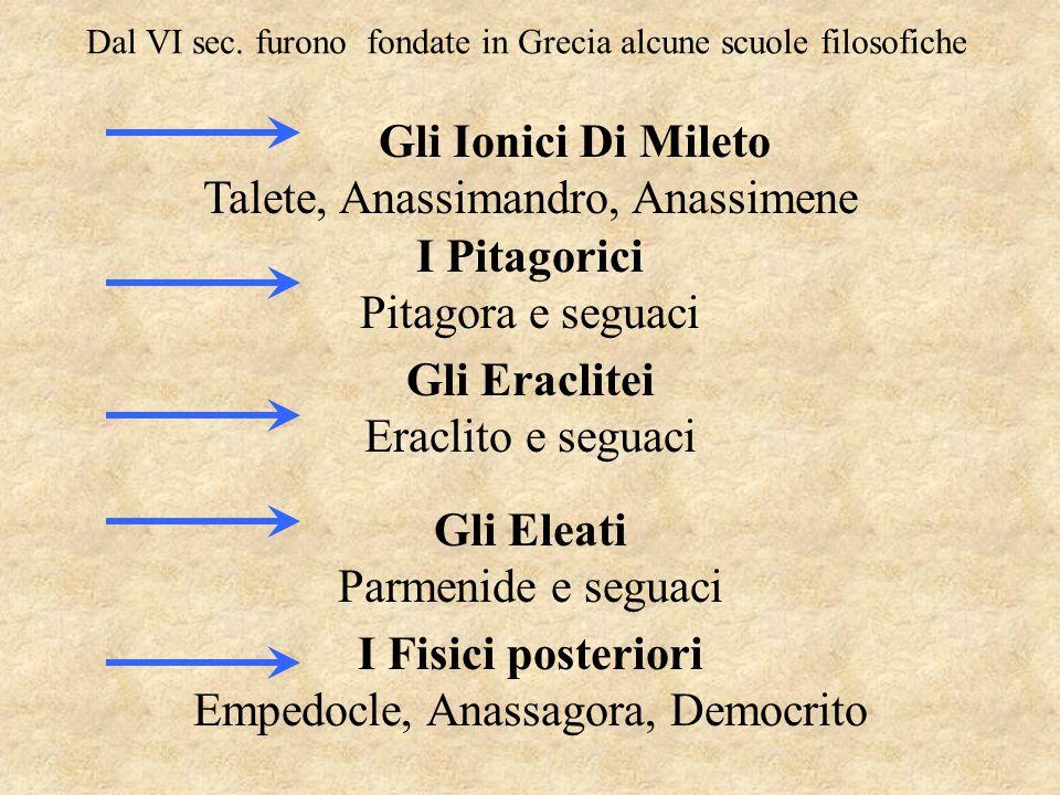 I Pitagorici Gli Eraclitei Gli Eleati I Fisici posteriori