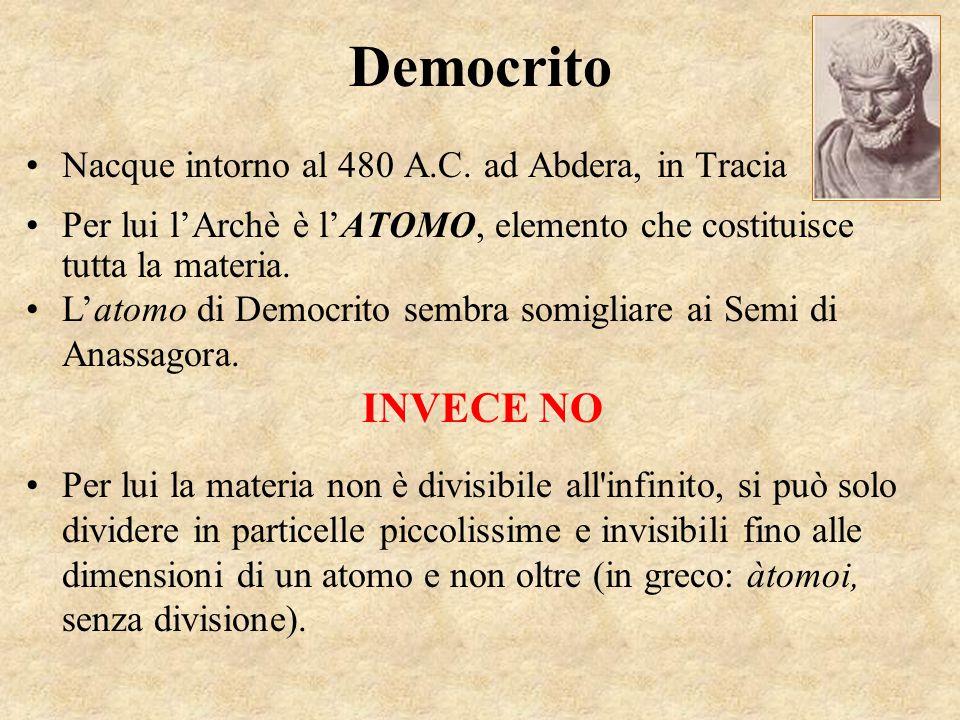 Democrito INVECE NO Nacque intorno al 480 A.C. ad Abdera, in Tracia