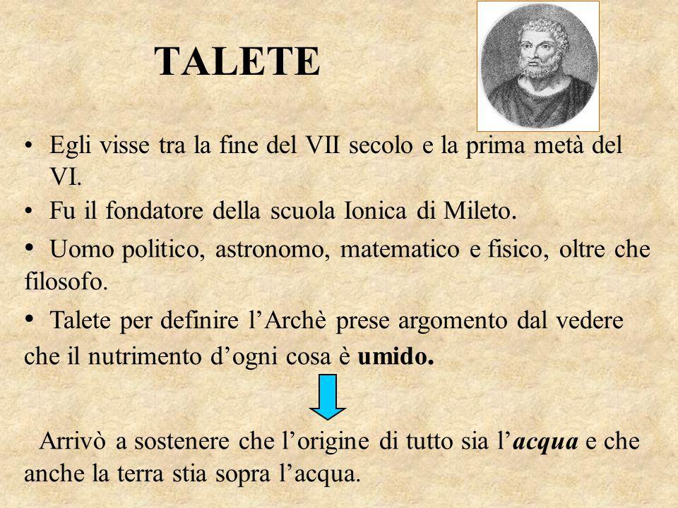 TALETE Egli visse tra la fine del VII secolo e la prima metà del VI. Fu il fondatore della scuola Ionica di Mileto.