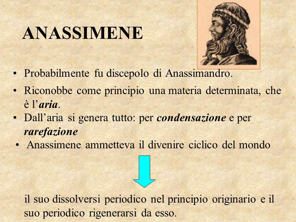 ANASSIMENE Probabilmente fu discepolo di Anassimandro.