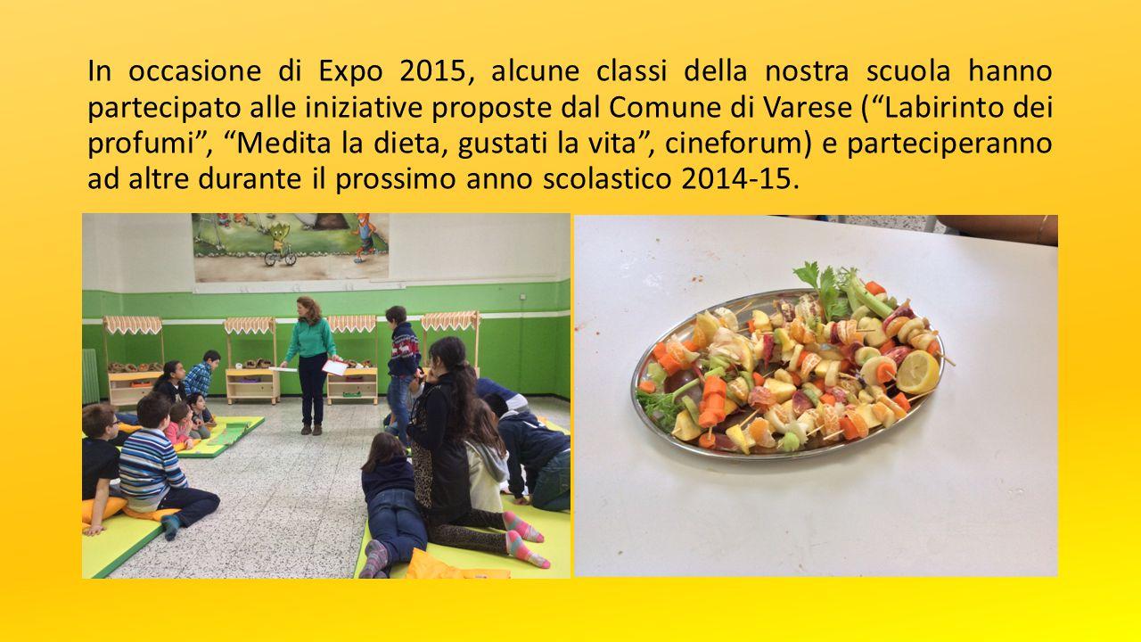 In occasione di Expo 2015, alcune classi della nostra scuola hanno partecipato alle iniziative proposte dal Comune di Varese ( Labirinto dei profumi , Medita la dieta, gustati la vita , cineforum) e parteciperanno ad altre durante il prossimo anno scolastico 2014-15.