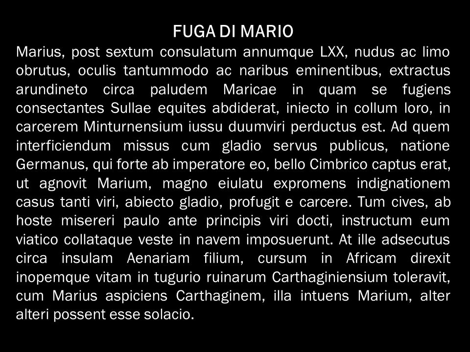 FUGA DI MARIO