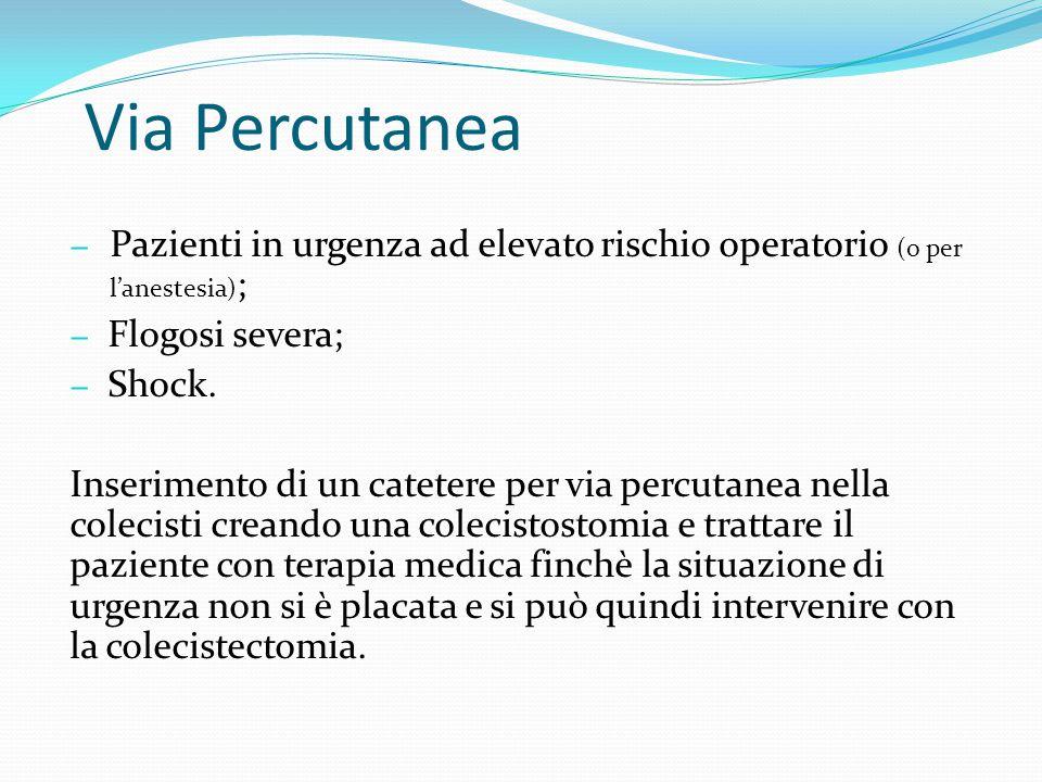 Via Percutanea Pazienti in urgenza ad elevato rischio operatorio (o per l'anestesia); Flogosi severa;