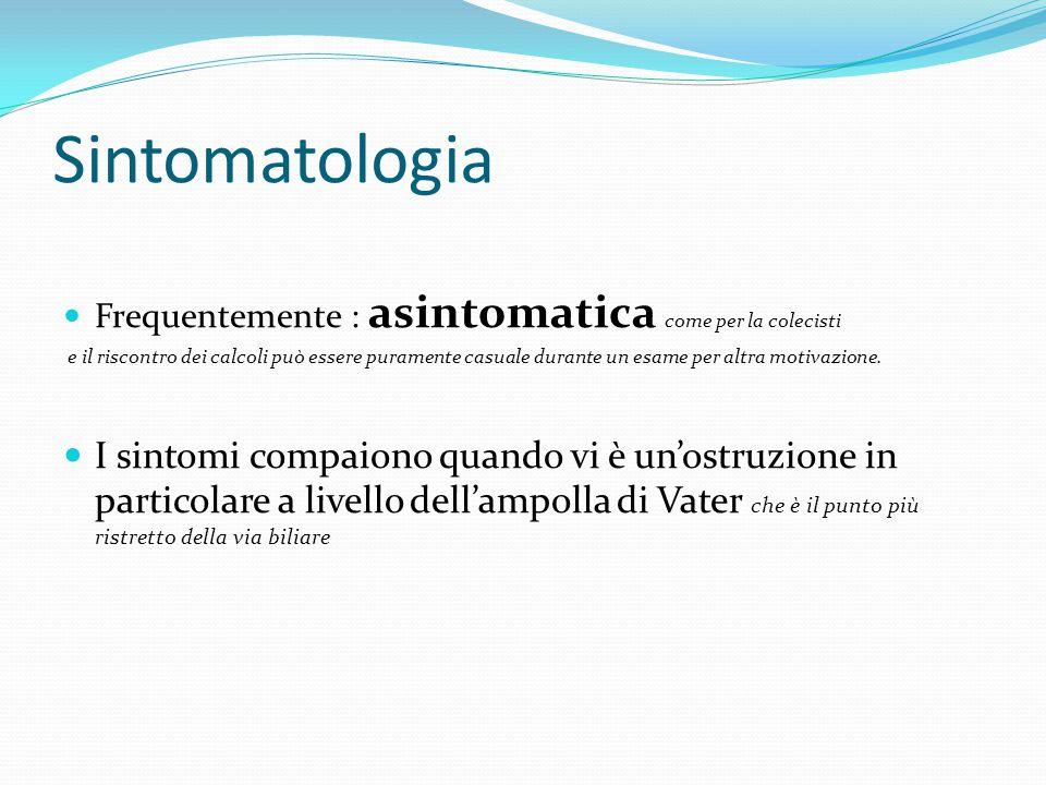 Sintomatologia Frequentemente : asintomatica come per la colecisti.