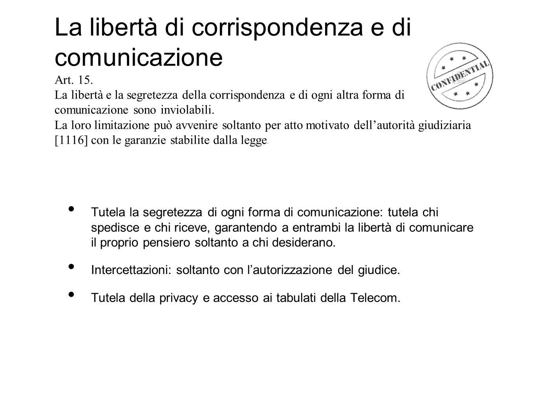 La libertà di corrispondenza e di comunicazione Art. 15