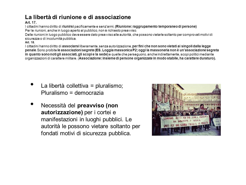 La libertà di riunione e di associazione Art. 17