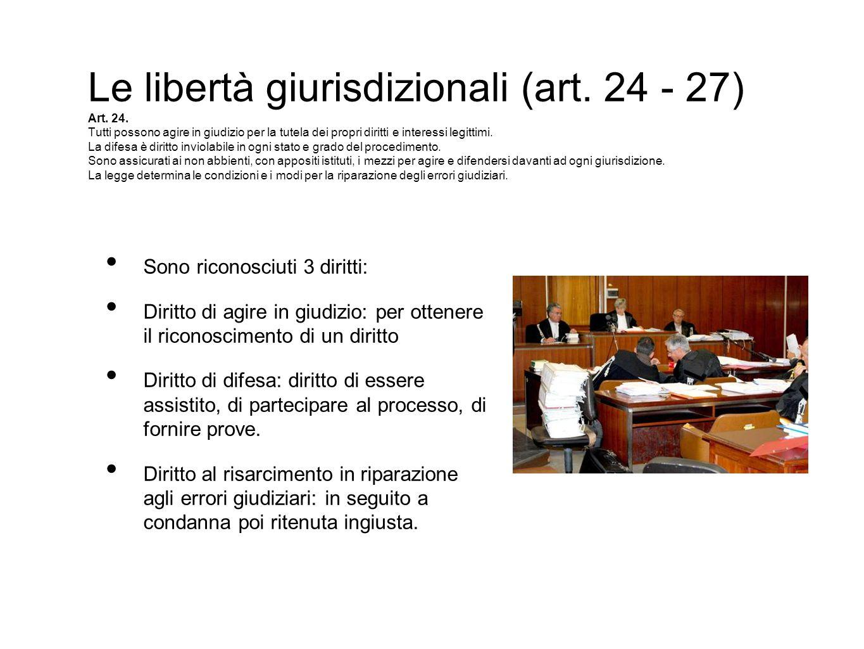 Le libertà giurisdizionali (art. 24 - 27) Art. 24