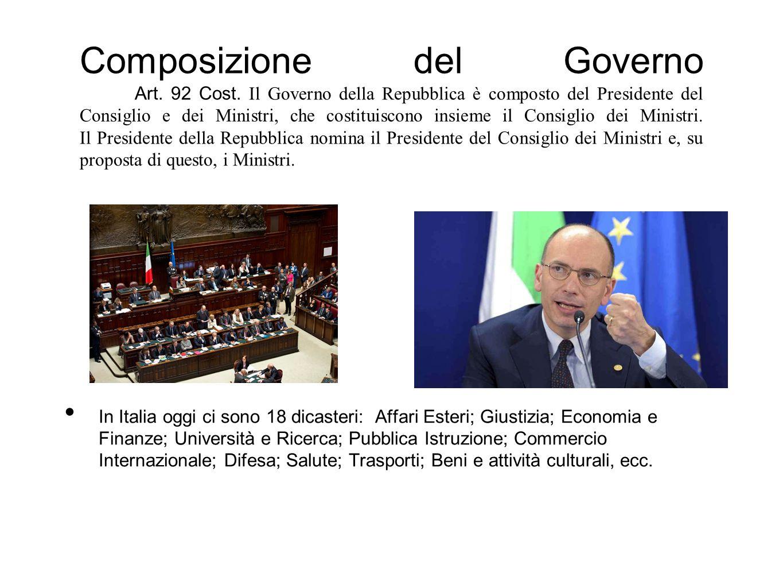 Composizione del Governo. Art. 92 Cost