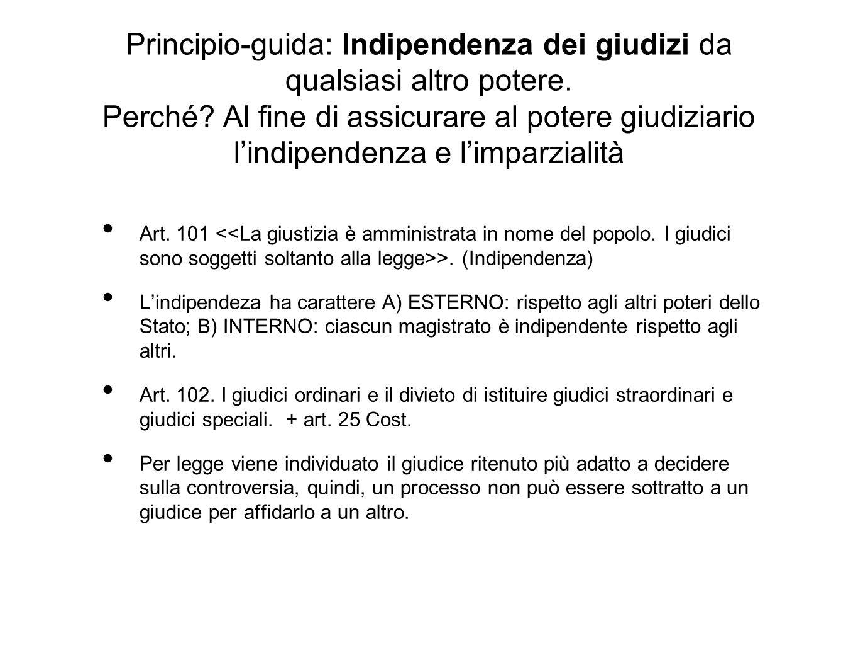 Principio-guida: Indipendenza dei giudizi da qualsiasi altro potere