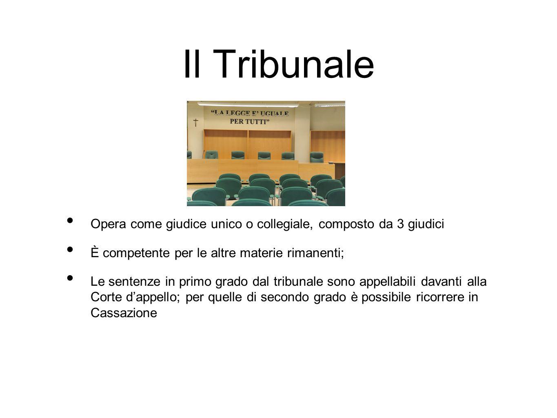 Il Tribunale Opera come giudice unico o collegiale, composto da 3 giudici. È competente per le altre materie rimanenti;