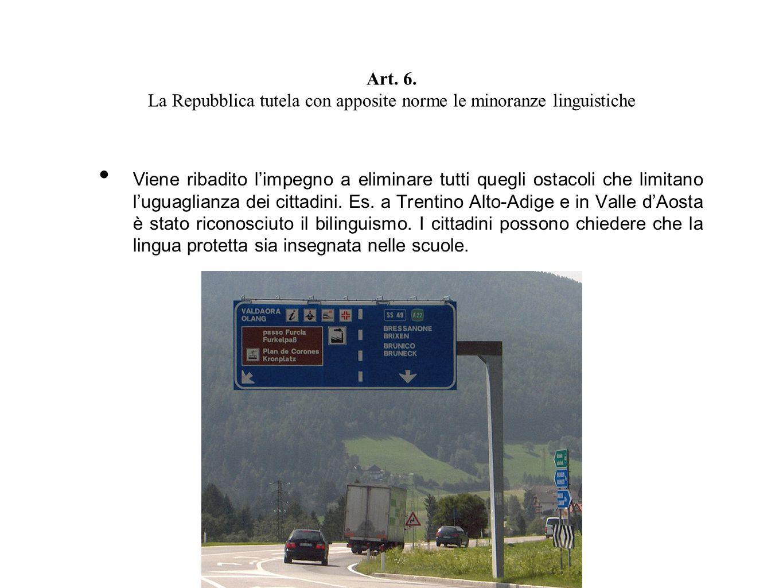 Art. 6. La Repubblica tutela con apposite norme le minoranze linguistiche