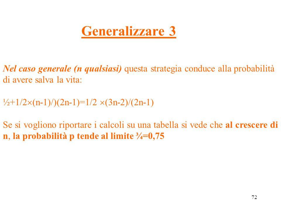 Generalizzare 3 Nel caso generale (n qualsiasi) questa strategia conduce alla probabilità di avere salva la vita: