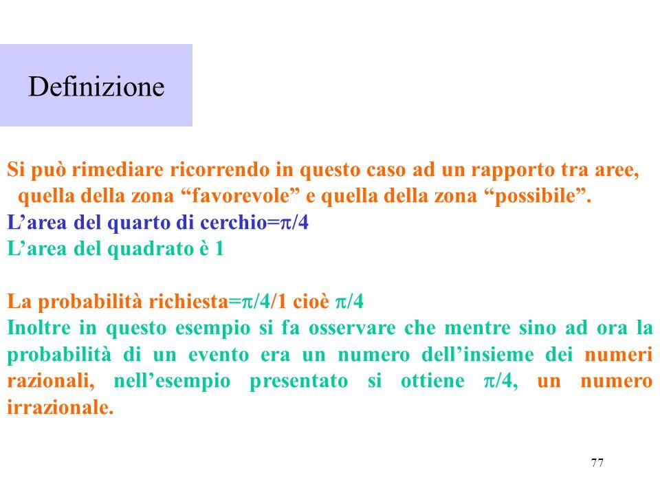 Definizione Si può rimediare ricorrendo in questo caso ad un rapporto tra aree, quella della zona favorevole e quella della zona possibile .