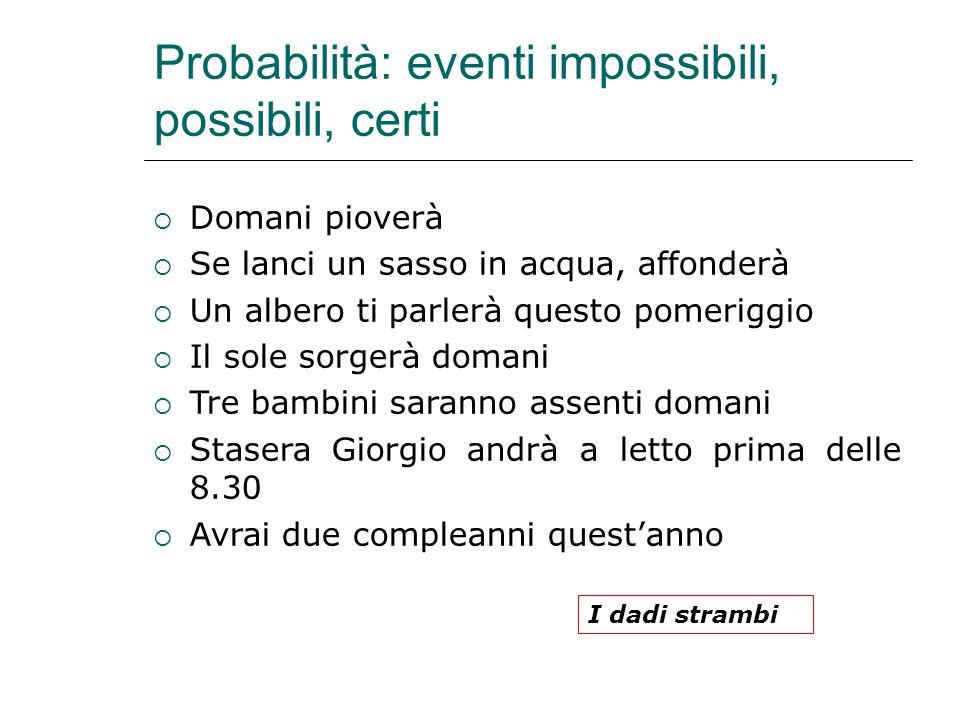 Probabilità: eventi impossibili, possibili, certi