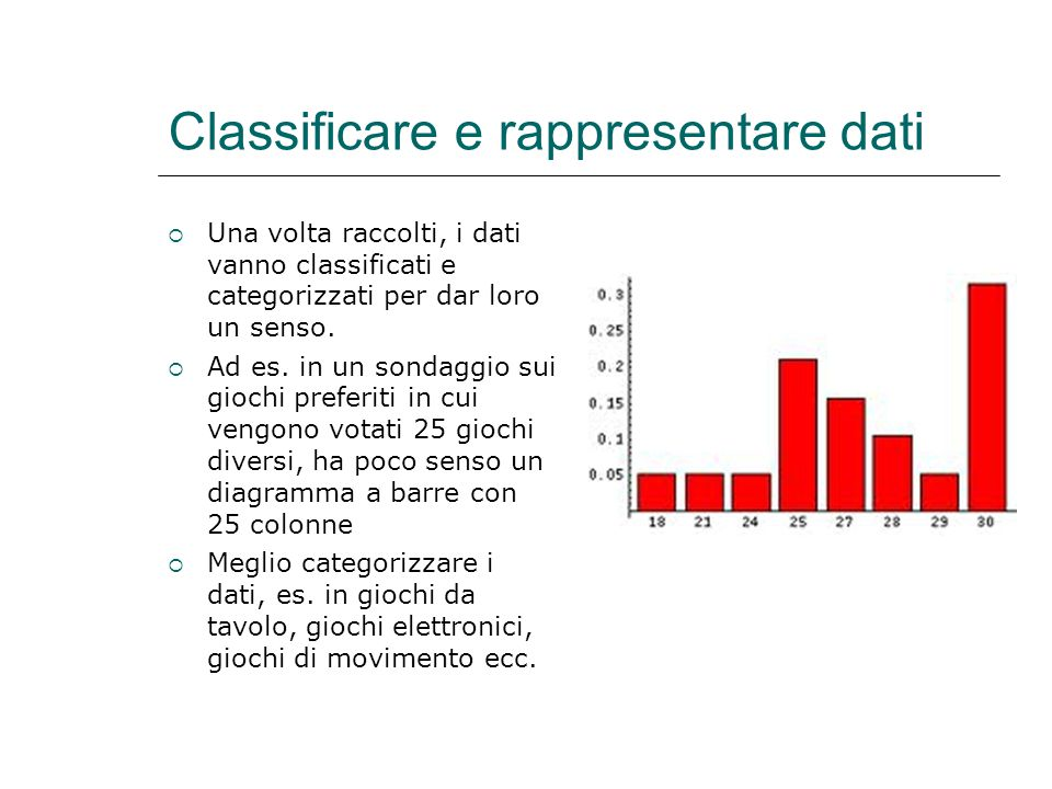 Classificare e rappresentare dati
