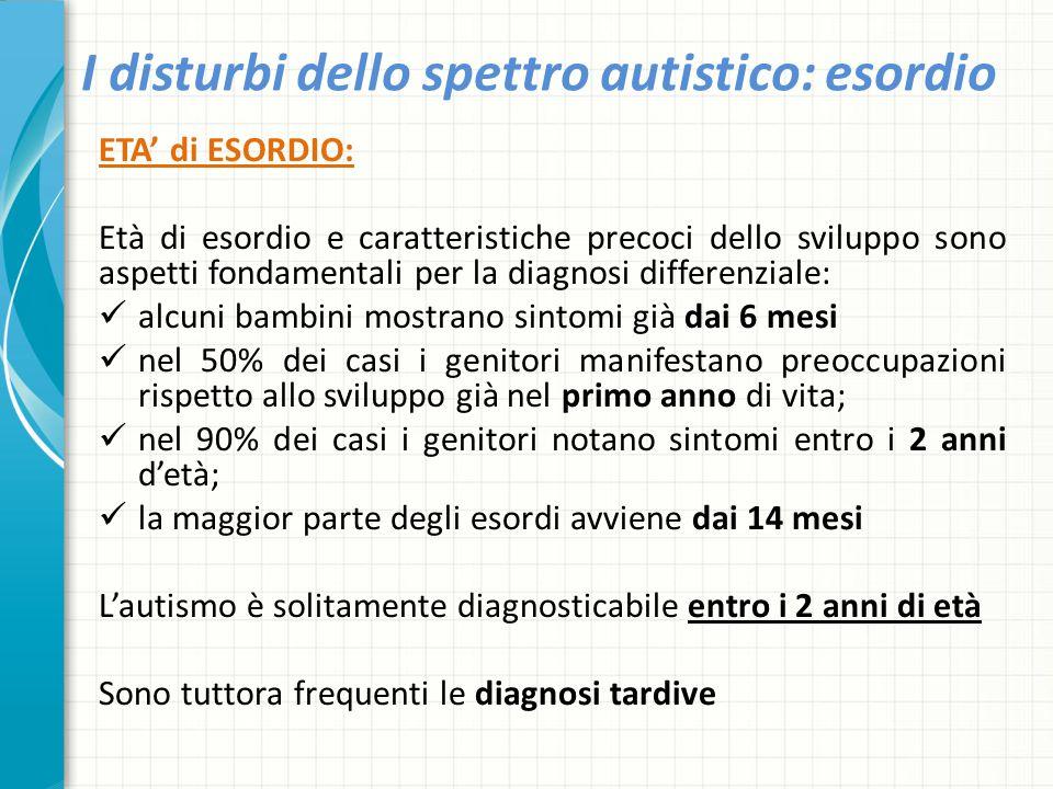 I disturbi dello spettro autistico: esordio