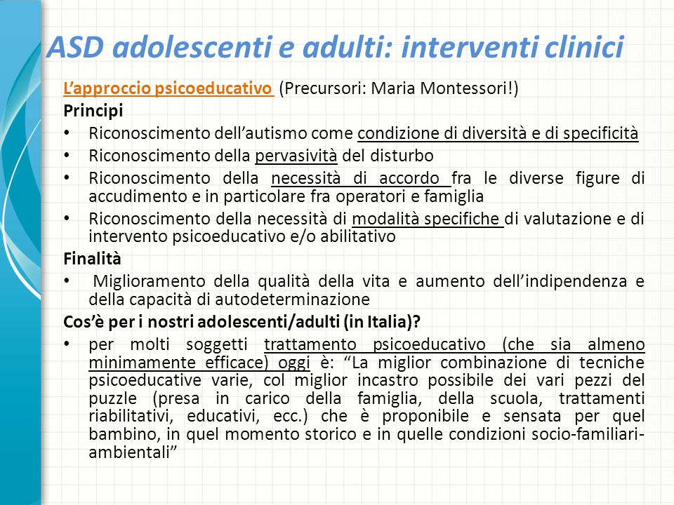ASD adolescenti e adulti: interventi clinici