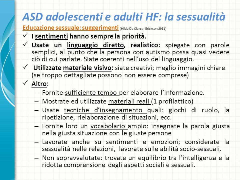 ASD adolescenti e adulti HF: la sessualità