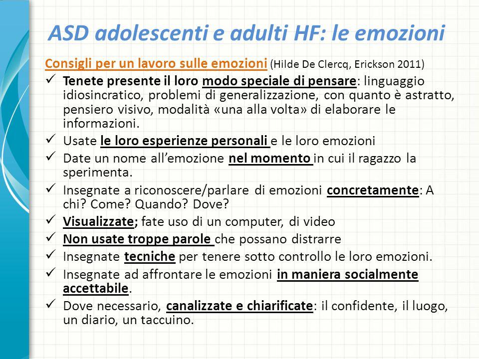 ASD adolescenti e adulti HF: le emozioni