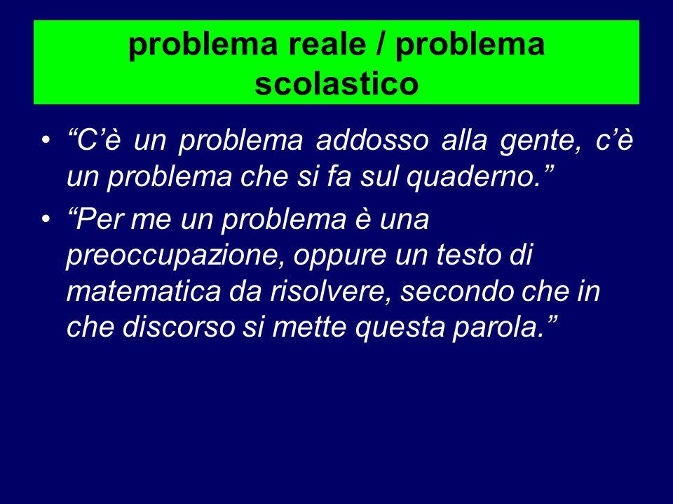 problema reale / problema scolastico