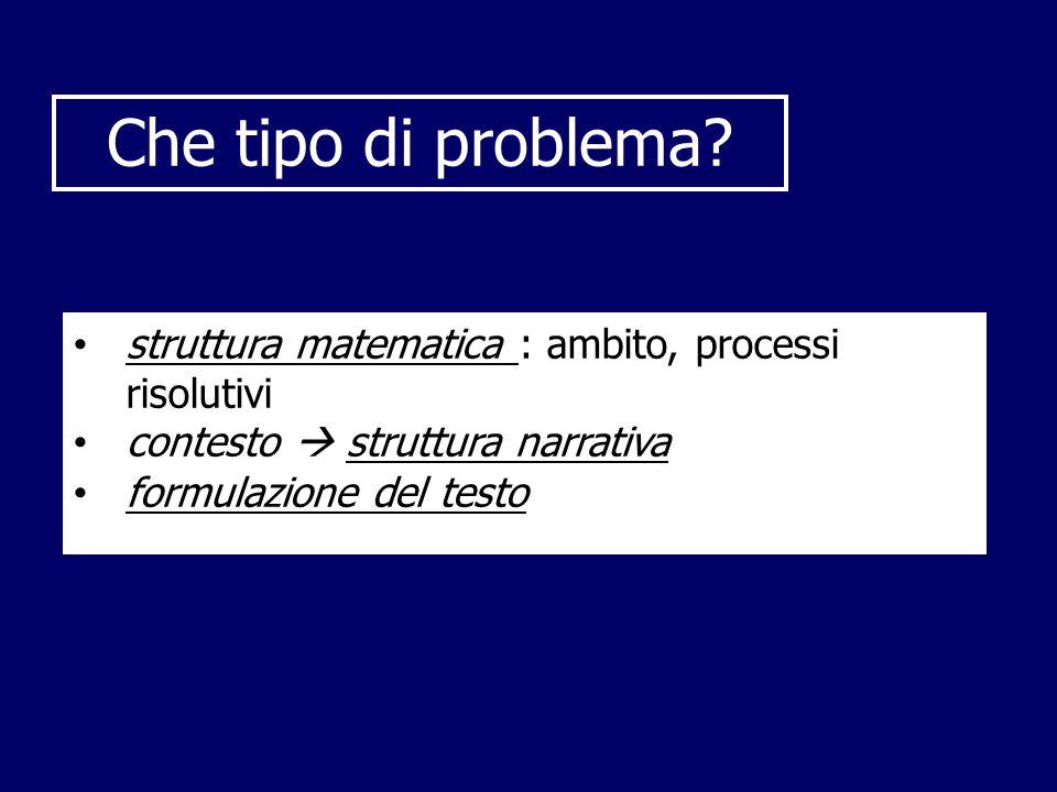Che tipo di problema struttura matematica : ambito, processi risolutivi. contesto  struttura narrativa.