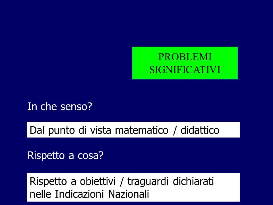 PROBLEMI SIGNIFICATIVI. In che senso Dal punto di vista matematico / didattico. Rispetto a cosa