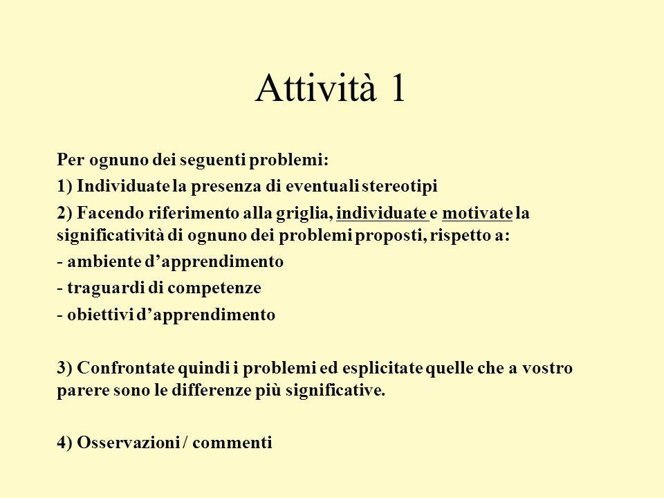 Attività 1 Per ognuno dei seguenti problemi: