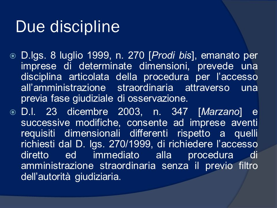 Due discipline