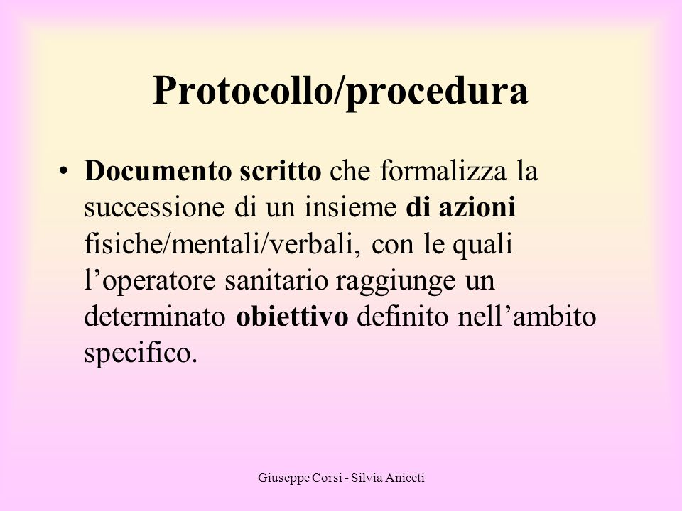 Protocollo/procedura