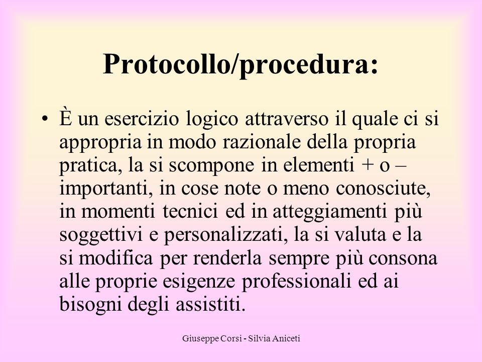 Protocollo/procedura: