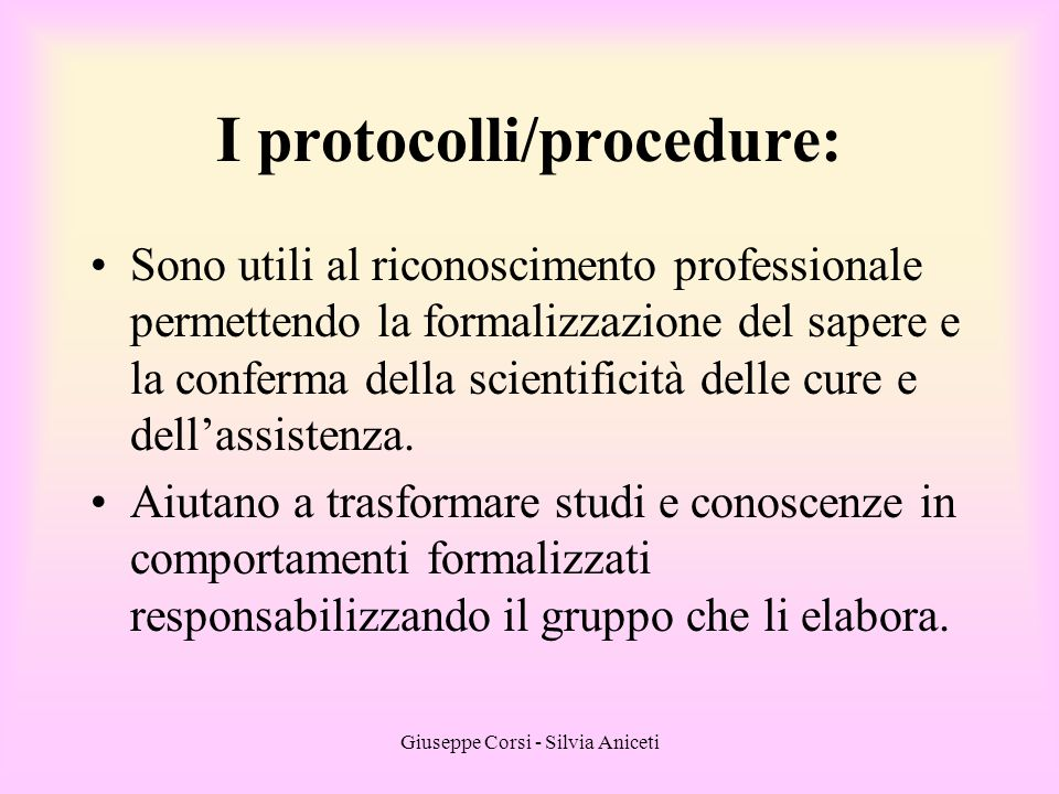 I protocolli/procedure: