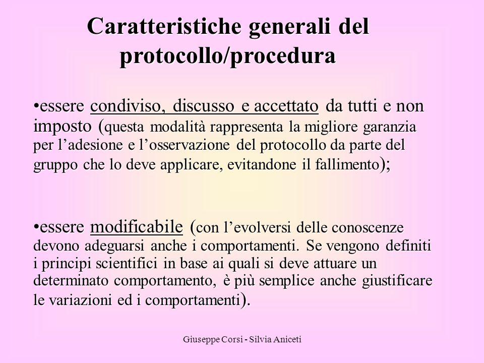 Caratteristiche generali del protocollo/procedura