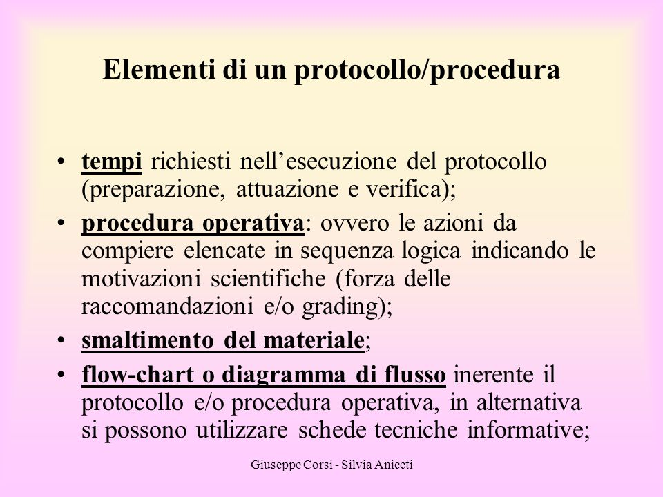 Elementi di un protocollo/procedura