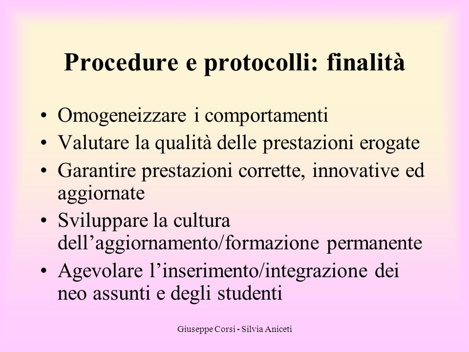 Procedure e protocolli: finalità