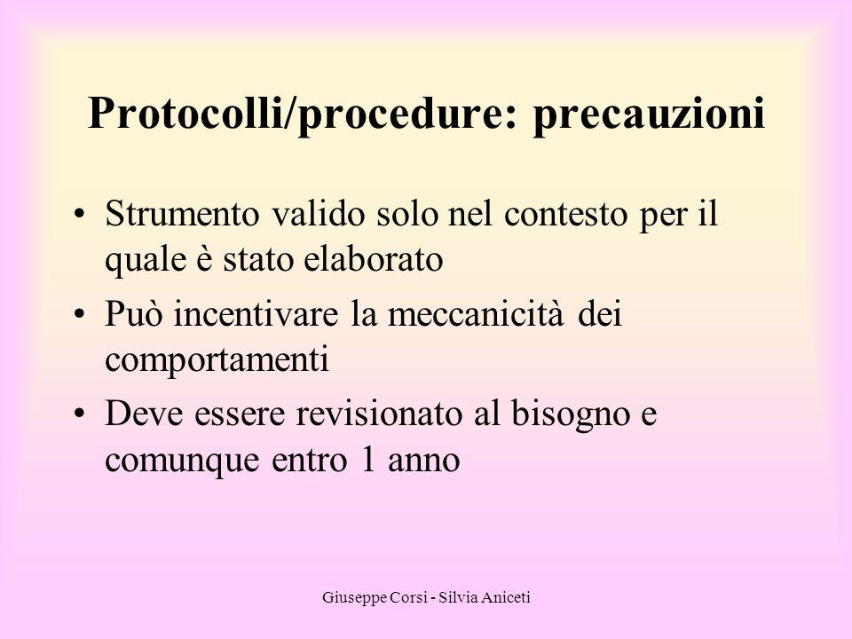 Protocolli/procedure: precauzioni