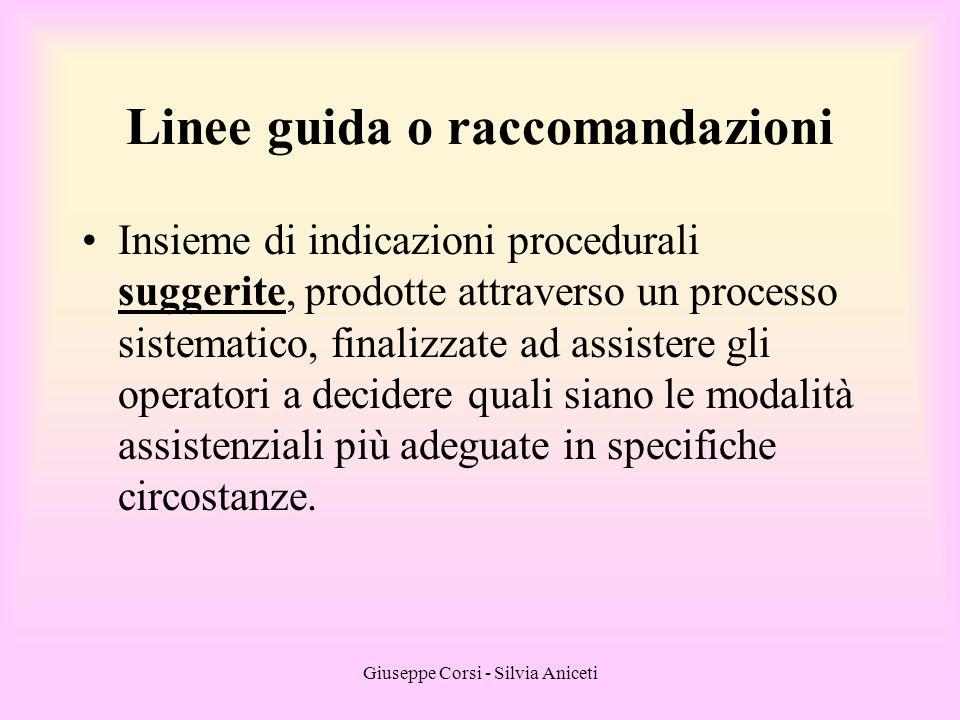 Linee guida o raccomandazioni