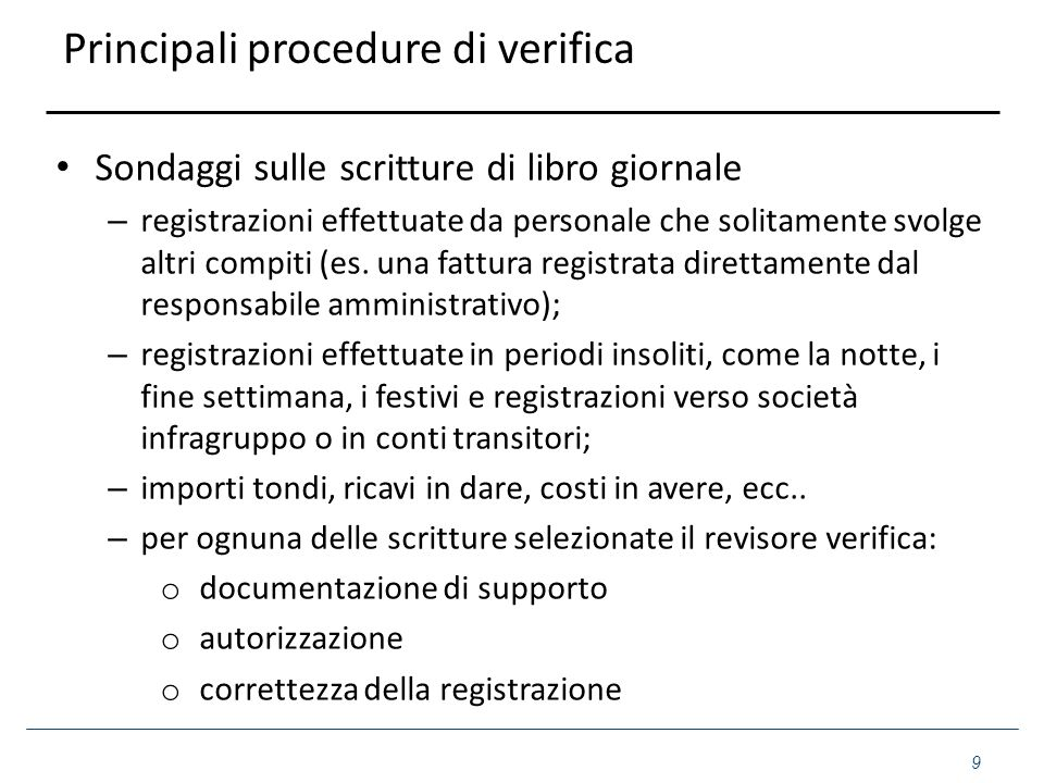 Principali procedure di verifica