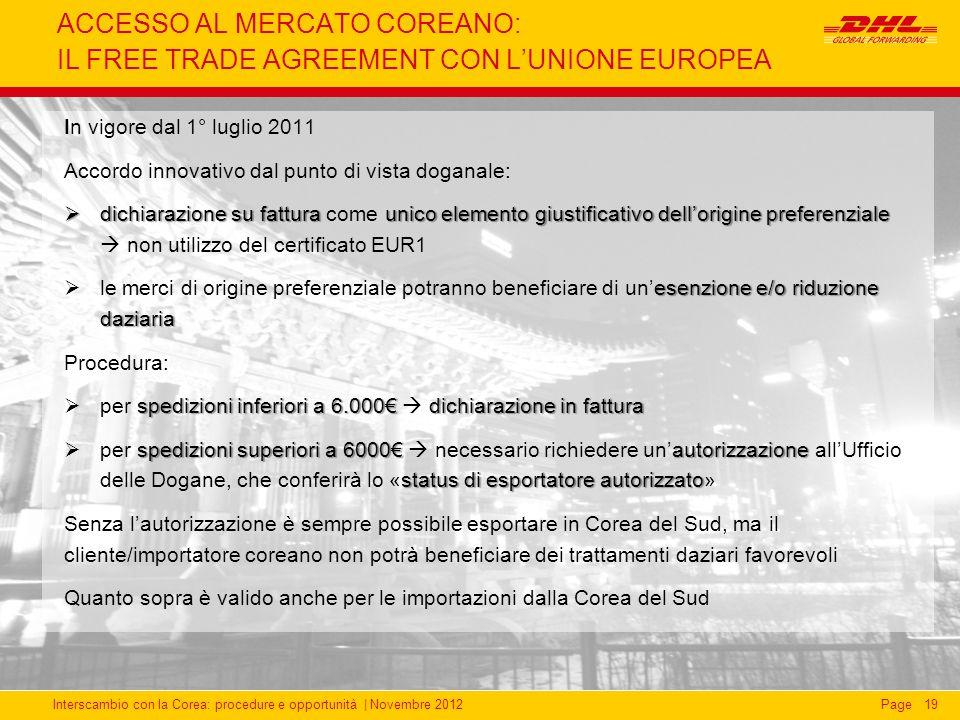 ACCESSO AL MERCATO COREANO: IL FREE TRADE AGREEMENT CON L'UNIONE EUROPEA