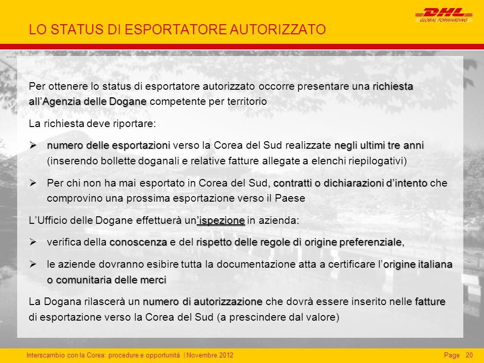 LO STATUS DI ESPORTATORE AUTORIZZATO