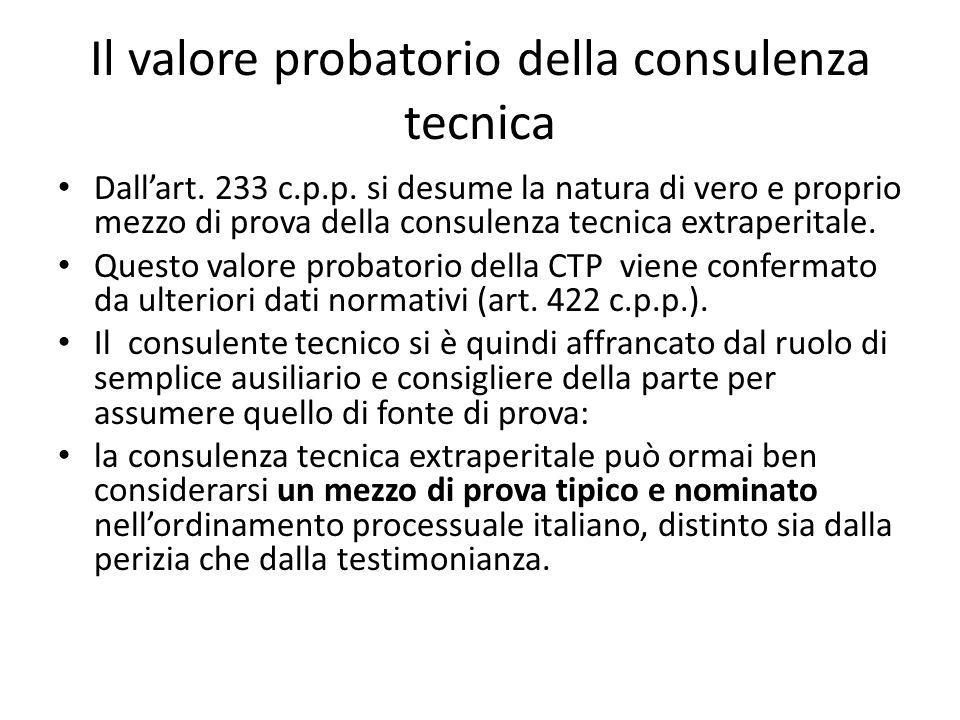 Il valore probatorio della consulenza tecnica