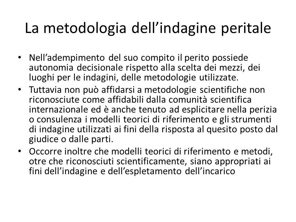 La metodologia dell'indagine peritale