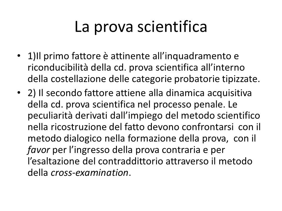 La prova scientifica