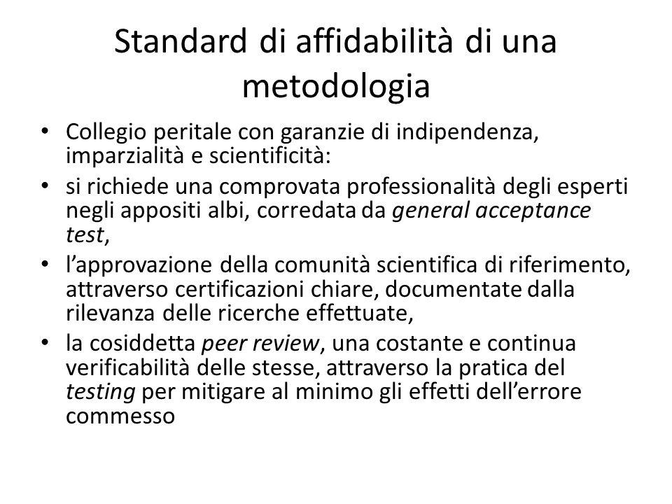 Standard di affidabilità di una metodologia